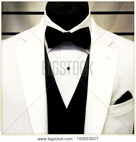 Detail of a tuxedo and mannequin - Instagram filter