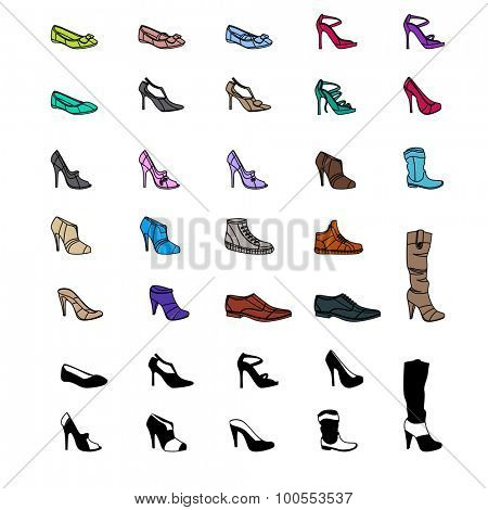 Women s fashion collection of shoes. Set with different shoes isolated on white.