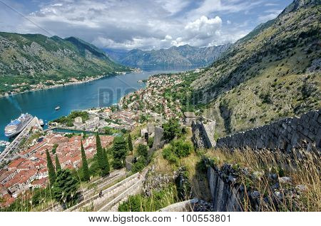 high view fjord-like Bay Kotor, Montenegro