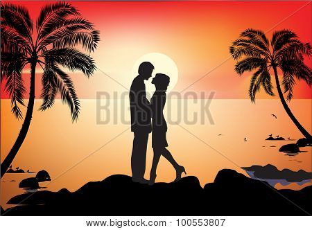 illustration with couple near palm trees at red sunset