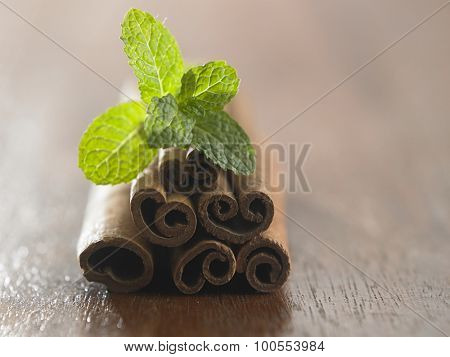 Mint with cinnamon on the wooden table