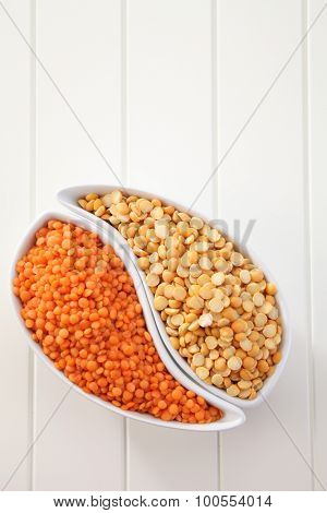 two different yellow and red dal
