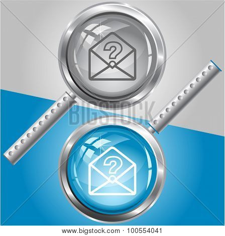 open mail with query sign. Vector magnifying glass.