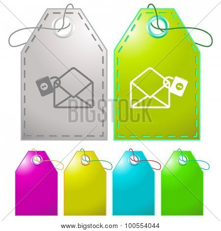 open mail with lock. Vector tags.