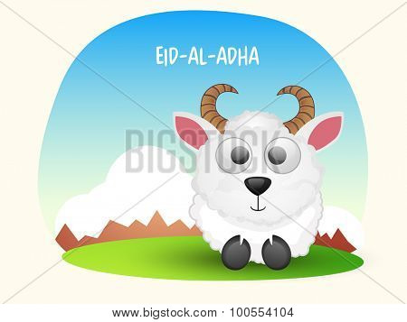 Cute sheep on shiny nature background for Islamic Festival of Sacrifice, Eid-Al-Adha celebration.