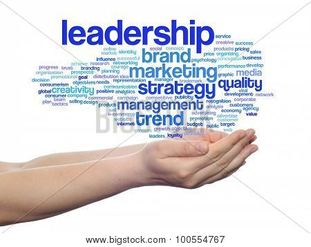 Concept or conceptual abstract business marketing word cloud or wordcloud in man or woman hand on background