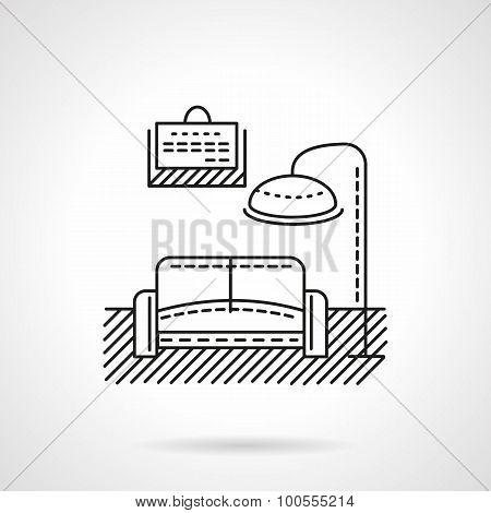 Rooms for rent flat line vector icon