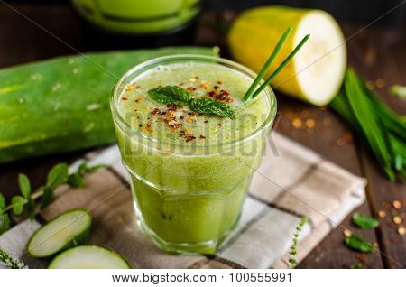 Cucumber Smoothie With Herbs And Chili