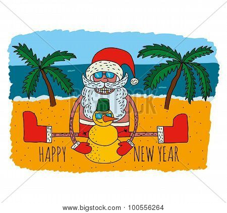 Happy Santa Claus on tropical winter vacantion