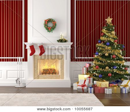 Stylish Fireplace Decorated For Christmas
