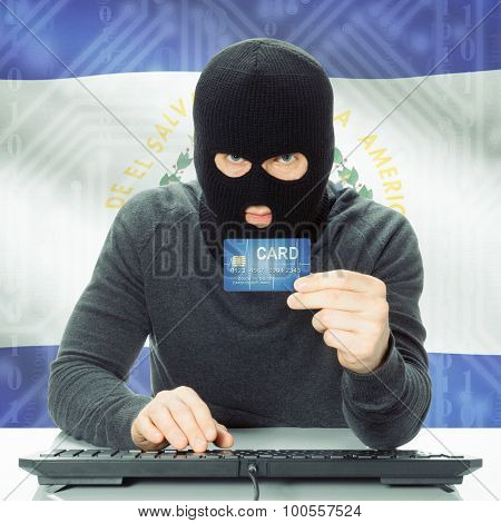Concept Of Cybercrime With National Flag On Background - El Salvador