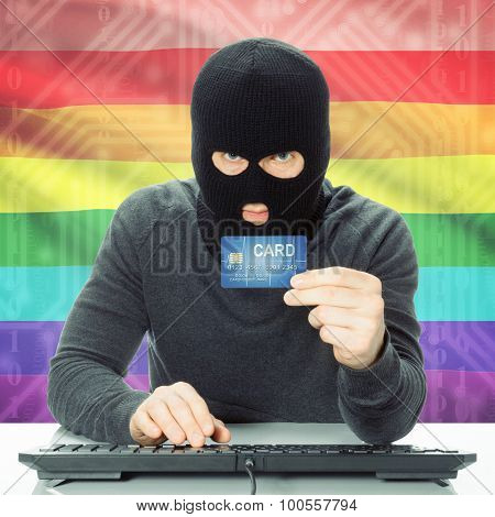 Concept Of Cybercrime With National Flag On Background - Lgbt People