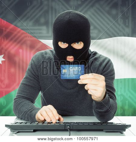 Concept Of Cybercrime With National Flag On Background - Jordan