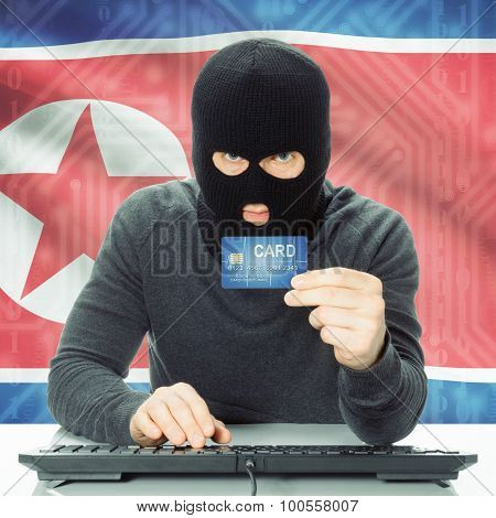 Concept Of Cybercrime With National Flag On Background - North Korea