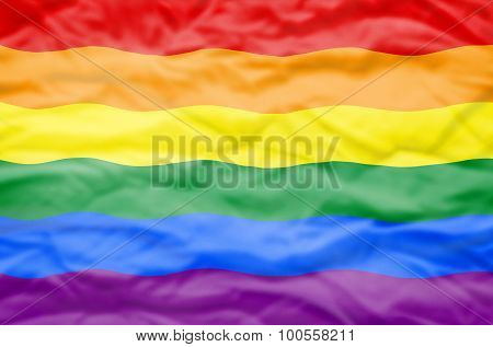Rainbow LGBT flag.