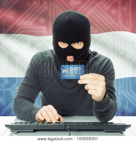 Concept Of Cybercrime With National Flag On Background - Netherlands
