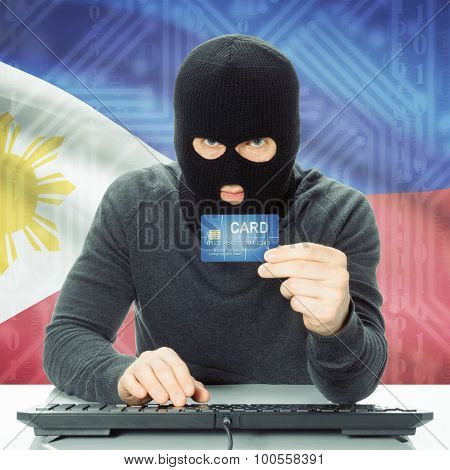 Concept Of Cybercrime With National Flag On Background - Philippines
