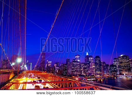The Brooklyn Bridge Financial District Night Concept