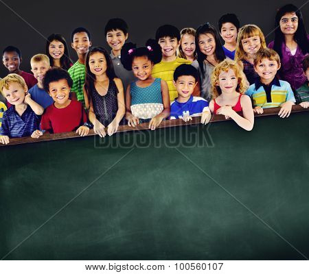 Diversity Friendship Kids Education Blackboard Concept