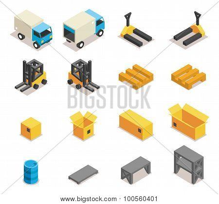Warehouse equipment icon set
