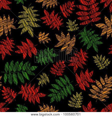 Vibrant texture with scraped nanakamado leaves. Seamless pattern.