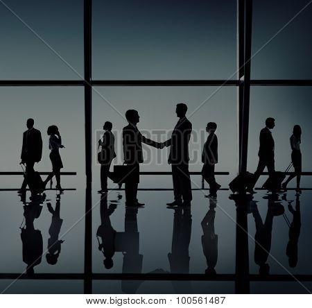 Business Meeting Handshake Silhouette Concept