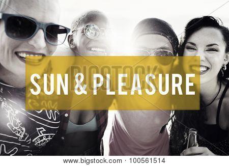 Sun and Pleasure Summer Friendship Beach Vacation Concept