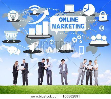 Online Marketing Business Teamwork Collaboration Concept