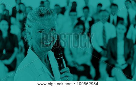 Businesswoman Speaker Leadership Corporate Business COncept
