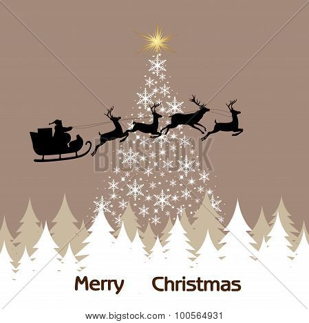 Background of the Christmas tree, snowflakes and Santa Claus