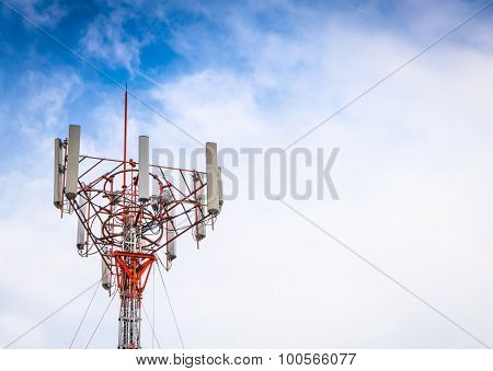 Telecommunication tower with beautiful sky