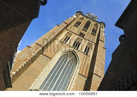 Clock Tower Of Dordrecht Cathedral, Holland