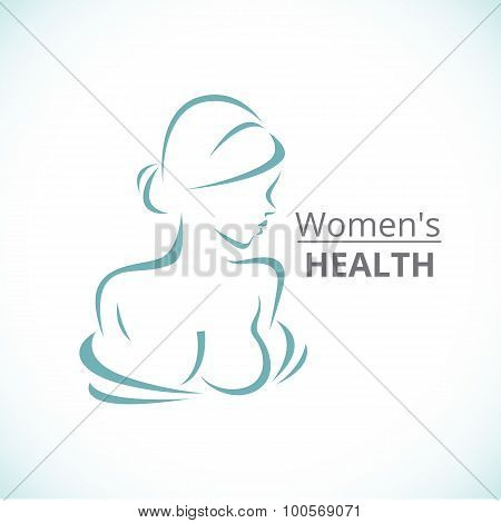 Abstract Logo A Stylized Portrait Of A Beautiful Woman