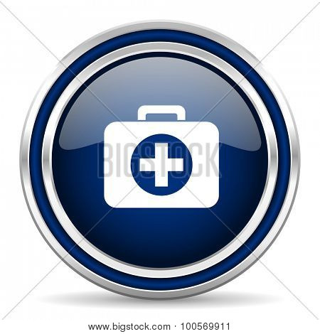 first aid blue glossy web icon modern computer design with double metallic silver border on white background with shadow for web and mobile app round internet button for business usage