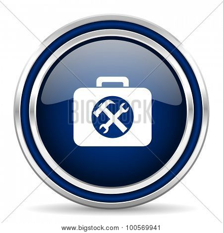 toolkit blue glossy web icon modern computer design with double metallic silver border on white background with shadow for web and mobile app round internet button for business usage