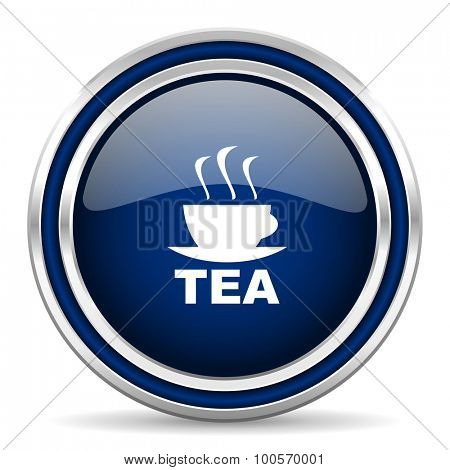 tea blue glossy web icon modern computer design with double metallic silver border on white background with shadow for web and mobile app round internet button for business usage