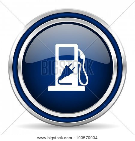 fuel blue glossy web icon modern computer design with double metallic silver border on white background with shadow for web and mobile app round internet button for business usage
