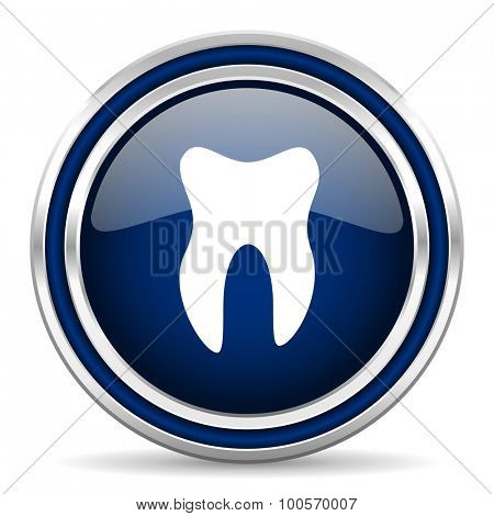 tooth blue glossy web icon modern computer design with double metallic silver border on white background with shadow for web and mobile app round internet button for business usage