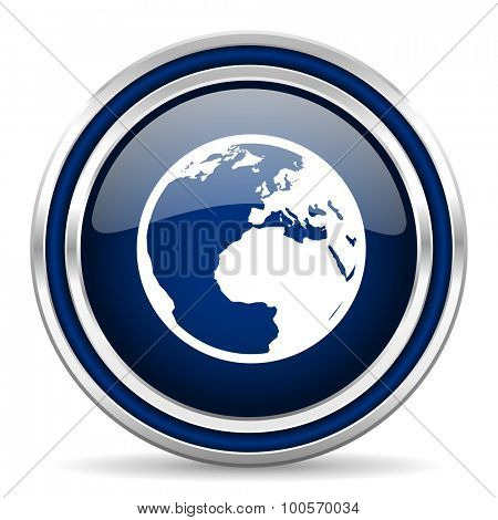 earth blue glossy web icon modern computer design with double metallic silver border on white background with shadow for web and mobile app round internet button for business usage