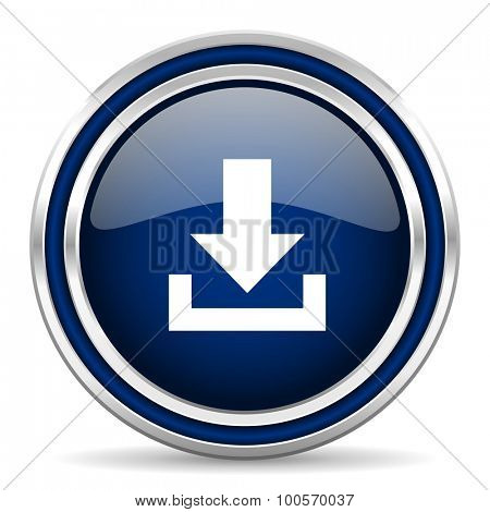 download blue glossy web icon modern computer design with double metallic silver border on white background with shadow for web and mobile app round internet button for business usage
