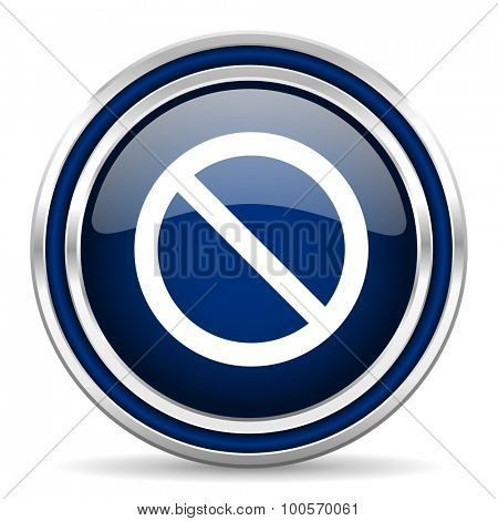 access denied blue glossy web icon modern computer design with double metallic silver border on white background with shadow for web and mobile app round internet button for business usage