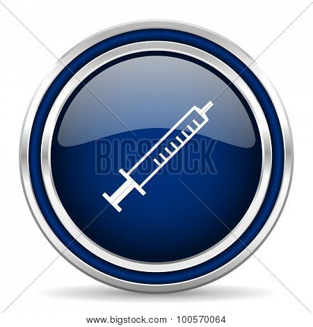 medicine blue glossy web icon modern computer design with double metallic silver border on white background with shadow for web and mobile app round internet button for business usage