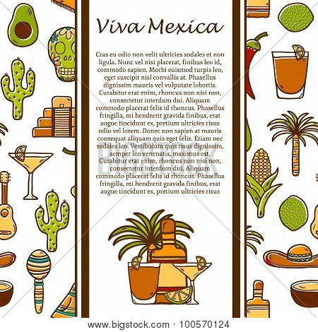 Vector travel concept with hand drawn objects and cuban seamless background on Cuba or Latin America