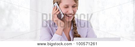 Woman Addicted To Modern Technology