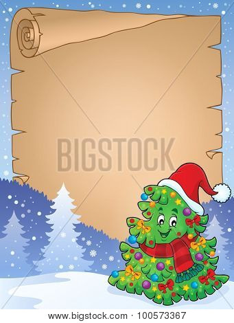 Parchment with Christmas tree topic 6 - eps10 vector illustration.