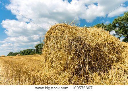 Hayroll on crop field n nice sunny day