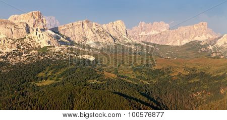 Evening View From Mount Col Di Lana To Gruppo Nuvolau