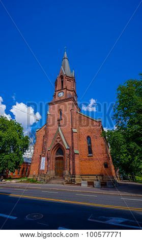 OSLO, NORWAY - 8 JULY, 2015: Brick european architecure Jakob church located in Hausmannsgate on a b