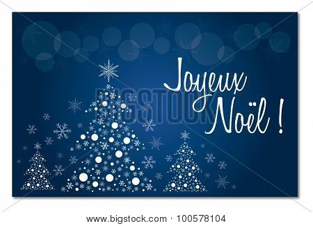 Merry christmas blue french  greeting card in french illustration vector joyeux noel with no shadow
