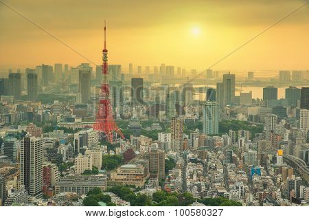 Aerial View Of Tokyo Tower In Tokyo City, Japan